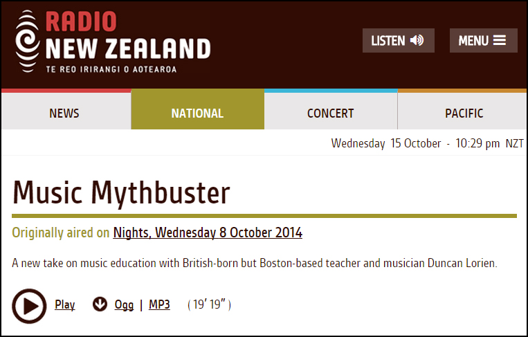 October 2014 Interview with Radio New Zealand: Music Mythbuster